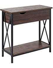 RAAMZO Flip Top Chair Side End Table with Lower Shelf in Walnut Finish and Black Frame