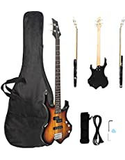 $115 » Bass Guitar, Full Size 4 String Flame Style Electric Bass Guitars, Separate Single-Single Pickup, Basswood Body-Maple Neck-Rosewood Fingerboard, w/Bag-Strap-Amp Wire-Spanner Tool-Plectrum
