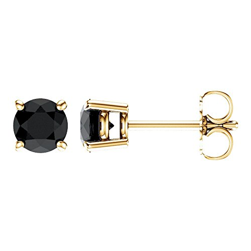 Jewels By Lux Set 14K Yellow Gold Genuine Onyx 5 mm Friction Pair Polished Onyx Earrings With Backs