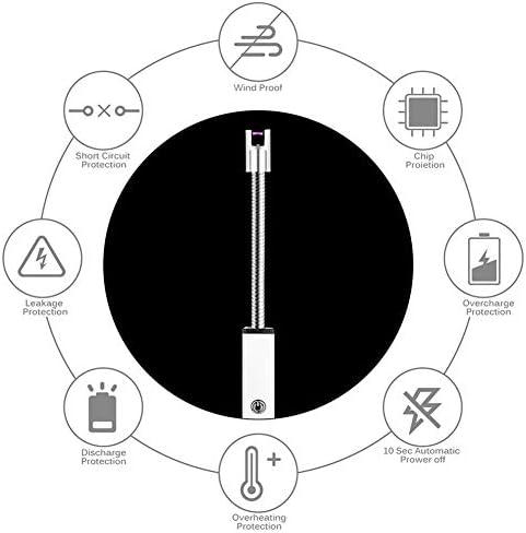 SYH Électronique USB Briquet avec BBQ Flexible, 360 ° Rotatif Chargable Bougie Briquets, pour Tuyau De Poêle À Gaz Cuisine Fumée, Enfant Coffre-Fort Commutateur,Bleu
