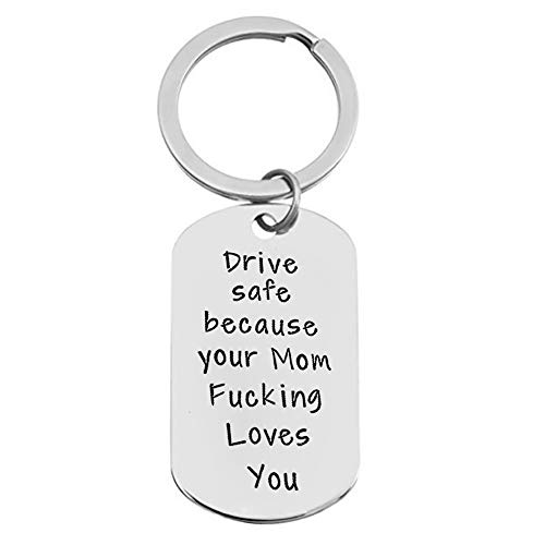 Love Bus Drivers - Meiligo Driver Keychain Drive Safe Because I Fucking Love You Trucker Husband Gift New Driver Gift for Boyfriend (Your mom Fucking Loves You)