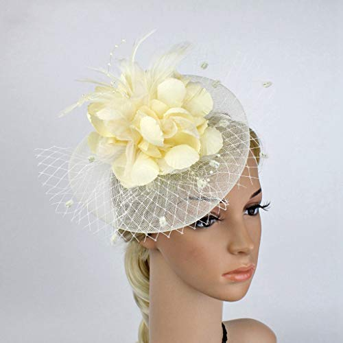 AOBRITON Flower Fascinator Cocktail Veil Hat Vintage Breathable Wedding Banquet Fedoras