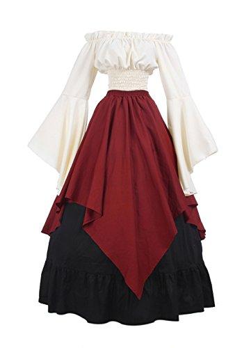 ROLECOS Womens Retro Renaissance Medieval Dress Trumpet Sleeve Peasant Dresses Red M