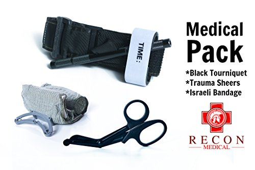 Recon Medical Pack -Includes Recon Medical Gen 3 Black Tourniquet Kevlar, Titanium Trauma Shears, Trauma Bandage First Aid Tactical SWAT Medic Pre-Hospital Life Saving Hemorrhage Control by Recon Medical