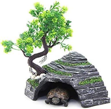 OMEM Reptil Box Refugio Terrario Escondite Cuevas Tortuga Plataforma para Tomar el Sol Decoración de Hábitat Humidificar Ocultar Cueva Resina Roca (M)