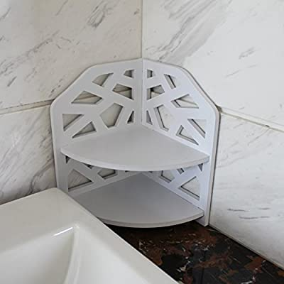VERCART Small Corner Shelf Storage Rack Bathroom Toilet Creative PVC Wood Home Plate Ledge