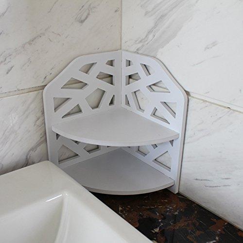 VERCART Small Corner Shelf Bathroom Toilet Storage Rack Creative PVC Wood Home Plate Ledge by VERCART