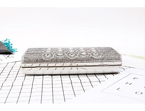 Win8Fong - Cartera de mano de Material Sintético para mujer plata