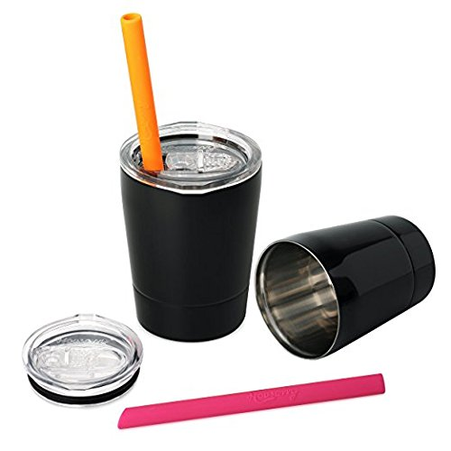 Housavvy Kids Tumbler Double-walled Stainless Steel, Set of 2 -Black