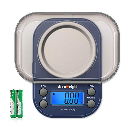 (AccuWeight 255 Mini Digital Weight Scale for School Travel Jewelry Pocket Gram Scale 300g/0.01g with Tare and Calibration Food Kitchen Scale)
