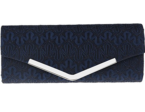 Jubileens Floral Lace Satin Evening Party Bridal Wedding Purse Clutch Prom Bag (Navy Blue)