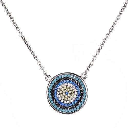 (KIVN Fashion jewelry Spiritual Evil eye CZ Cubic Zirconia Pendant Necklaces for Women (Turquoise-Small))