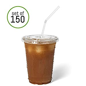 Homevative [Set of 150] Clear Disposable Plastic Cups with Lids and Straws - for Ice Coffee, Smoothies, Iced Tea, Juice, Cold Drinks (16 oz)