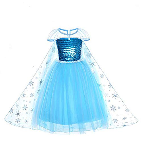 WanQ Elsa Costumes Dress Snow Queen Frozen Princess Dress for Birthday Party