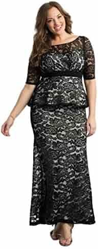 ea1af39e882 Kiyonna Women s Plus Size Astoria Lace Peplum Gown