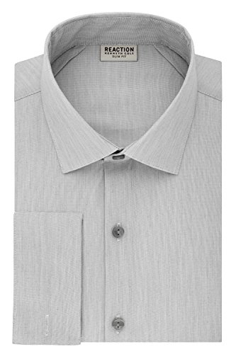 Kenneth Cole Reaction Men's Technicole Slim Fit Stretch Solid French Cuff Dress Shirt, Grey Frost, 16.5