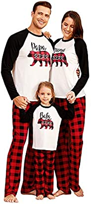 Yaffi Family Matching Pajamas Set Xmas Outfits Merry Christmas Bear Top with Plaid Pants Two Pieces Lounge Wea
