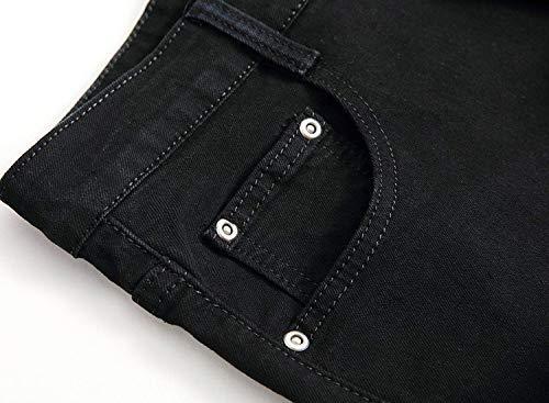 Pantaloni Dritti Moda In Vintage Especial Denim Nero Casual Media Uomo Sottili Estilo Da A Jeans Stretch Vita IpwABPxP