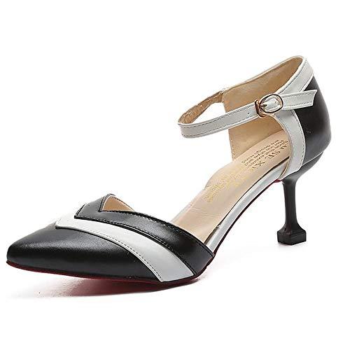 ZHZNVX Zapatos de Mujer PU (Poliuretano) Tacones de Bomba básicos de Verano Tacón de Aguja Punta Estrecha Blanco/Negro Black