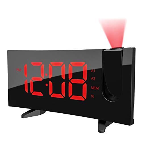 PICTEK Radio Alarm Clock, [Curved-Screen]...