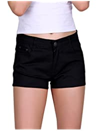 HDE Women's Solid Colour Ultra Stretch Fitted Low Rise Moleton Denim Booty Shorts