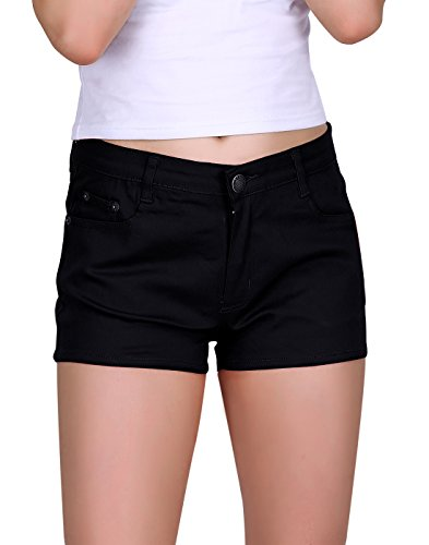 - HDE Women's Solid Color Ultra Stretch Fitted Low Rise Moleton Denim Booty Shorts (Black, Medium)