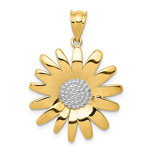 14k Yellow Gold Sunflower Pendant Charm Necklace Flower Gardening Fine Jewelry Gifts For Women For Her