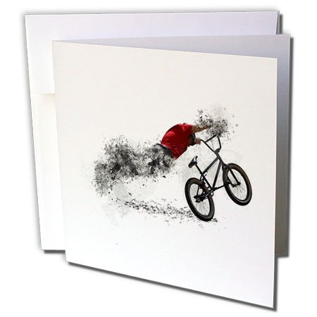 3dRose Fantasy Bike Sport with Sportily Men BMX Biker - Greeting Card, 6