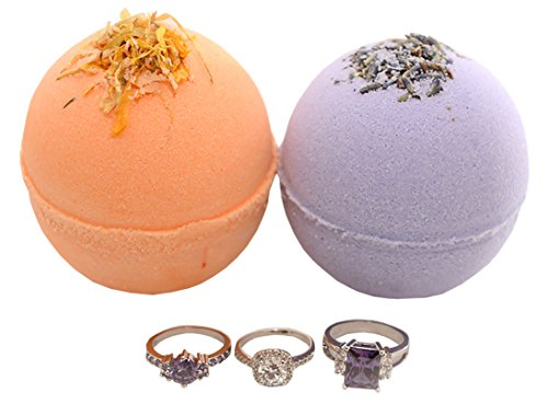 Price comparison product image Bath Bomb Set (2) with a Surprise Ring Inside - Gift Set of 2 Organic Fragrant Fizzing 5.7oz Bombs - Sterling Silver Rings - Handmade in USA with Natural Organic Essential Oils Shea Butter Avocado Oil
