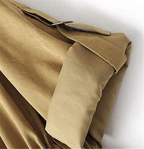 Capucha Manga Abrigos Colores Elegantes Bolsillo Con Larga Chaqueta Mujer Outdoor Otoño Moda Khaki Outerwear Cordón Casual Primavera Vintage Retro Sólidos Otwx6AxSq