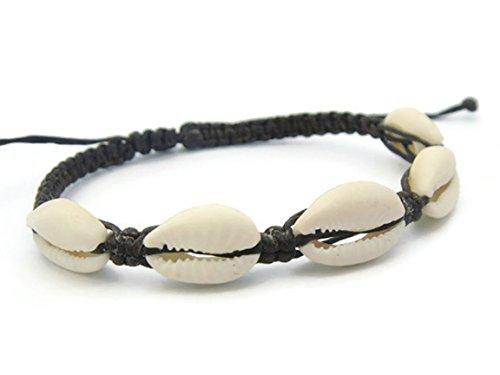 APECTO Jewelry Hawaiian Natural Cowrie Shell Beads Adjustable Bracelet Handmade (Dark Brown), SN25 (Hindu Halloween Costumes)