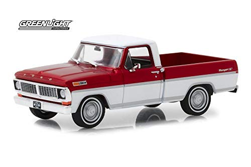 1970 Ford F-100 Ranger XLT Pickup Truck, Red and White - Greenlight 86318 - 1/43 Scale Diecast Model Toy -