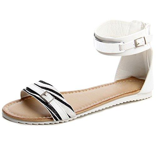 topschuhe24 540 Damen Riemchen Sandalen Weiß