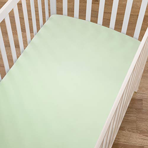TL Care 100% Cotton Jersey Knit Fitted Crib Sheet for Standard Crib and Toddler Mattresses, Celery, 28 x 52, for Boys and Girls