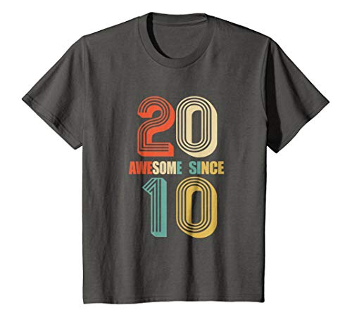 Kids Awesome Since 2010 T-Shirt 8 yrs old Bday 8th Birthday Tee 8 Asphalt ()