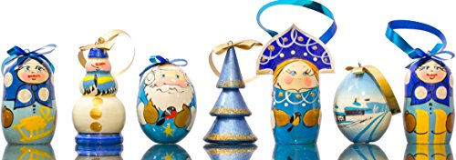 Christmas Ornaments - Set of 7 - Wooden Handmade Ornaments (7, Design M) (Ornaments Christmas Handmade)