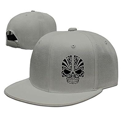 Skull Facial Art Solid Flat Bill Hip Hop Snapback Baseball Cap Unisex sunbonnet Hat.