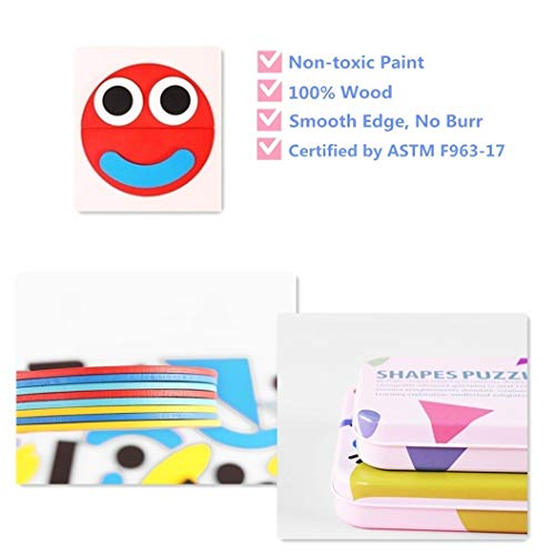 Wooden Pattern Blocks for Kids Toddlers, Tangrams Shapes Puzzles for Kids Ages 2-4 3-5 4-8, Montessori Toys for Toddlers, Learning Toys Gift for 2 3 4 5 6 Year Olds Boys Girls