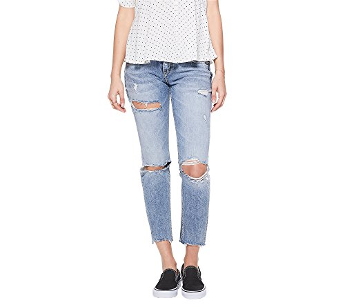 Silver Jeans Co. Women's Sam Mid Rise Boyfriend Jeans, light sandblast destroyed, 25x27