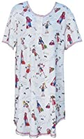 RocketWear Exercise Gals White Short Sleeve Cotton Knit Dress/Nightshirt