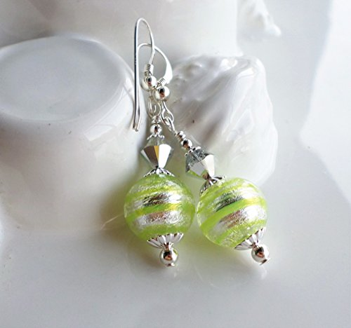 Lime Green Murano Earrings by H&H Jewelry Designs