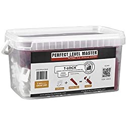 "1/16"" T-Lock ™ Complete KIT Anti lippage Tile leveling system by PERFECT LEVEL MASTER ™ 300 spacers & 100 wedges in handy bucket ! Tlock"