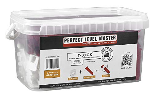 1/16'' T-Lock ™ Complete KIT Anti lippage Tile leveling system by PERFECT LEVEL MASTER ™ 300 spacers & 100 wedges in handy bucket ! Tlock by Perfect Level Master ™