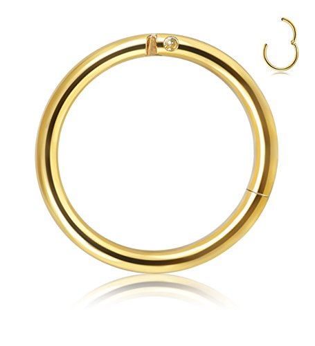 Golden Nose (Thunaraz 316L Surgical Steel Nose Hoop Ring Septum Clicker Ring Hinged Clicker Seamless Segment Helix Daith Cartilage Lip Piercing Golden Tone)