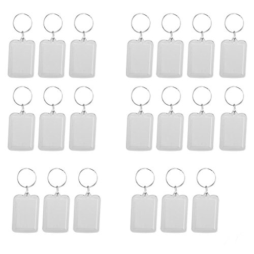 20pcs Rectangle Shaped Clear Acrylic Keyring Keychain Photo Picture Holder Size 38x25mm by Oring