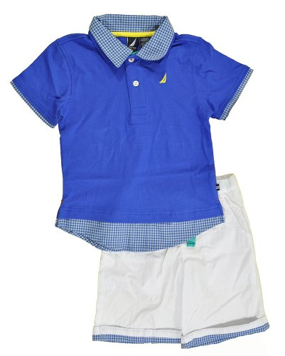 Nautica Toddler Boys S/S Royal Blue Polo 2pc White Short Set (4T)