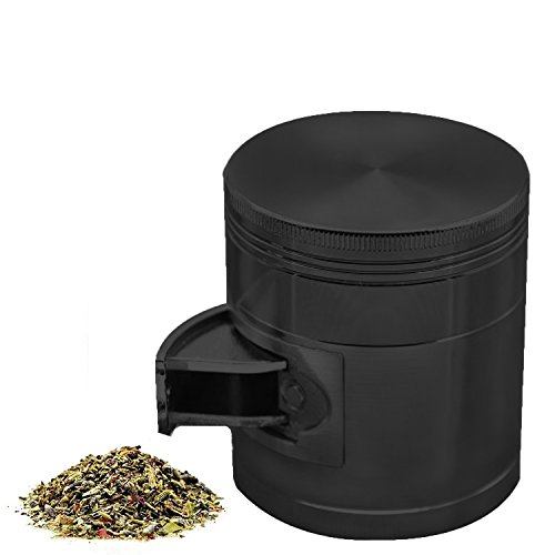 AIMAKE-New-Design-Herb-Weed-Spice-4-Piece-Large-25-Inches-Mills-Grinder-with-Pollen-CatcherBlack