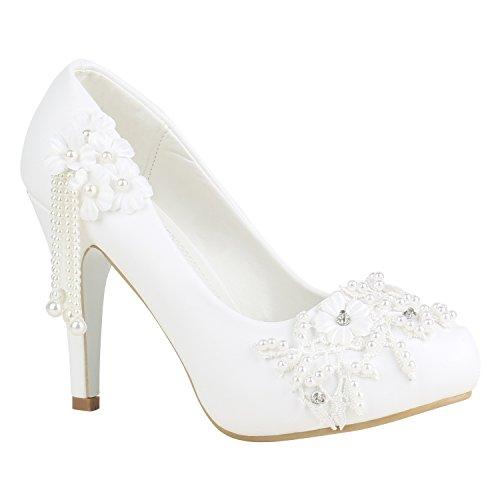 Pizzo Decolleté Donna 156229 Scarpe Flandell Da Stiefelparadies Bianco Sposa Perle 40 w6O5Xqwfx