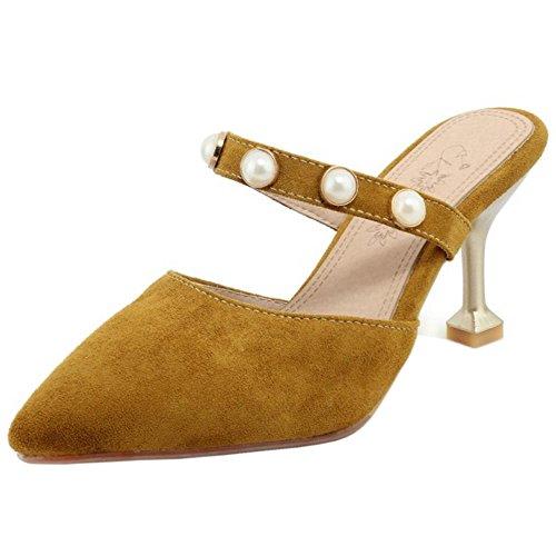 RAZAMAZA Women Fashion Closed Toe Mules Shoes Yellow i91ZT4e8