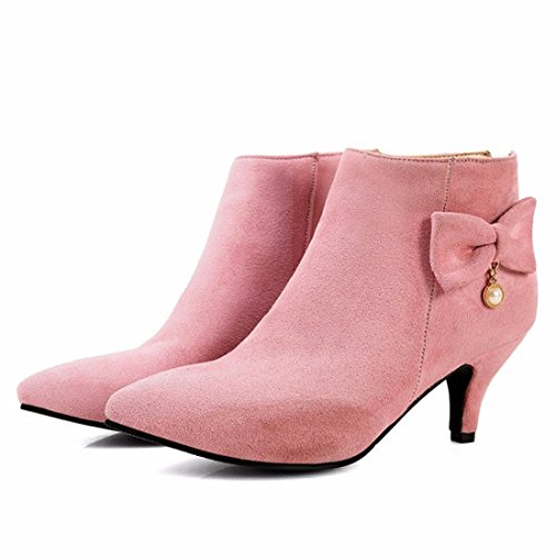 SUEDE autumn pointed LADIES in winter High heels and SIZE boots Pink SHOES RqqEwU8